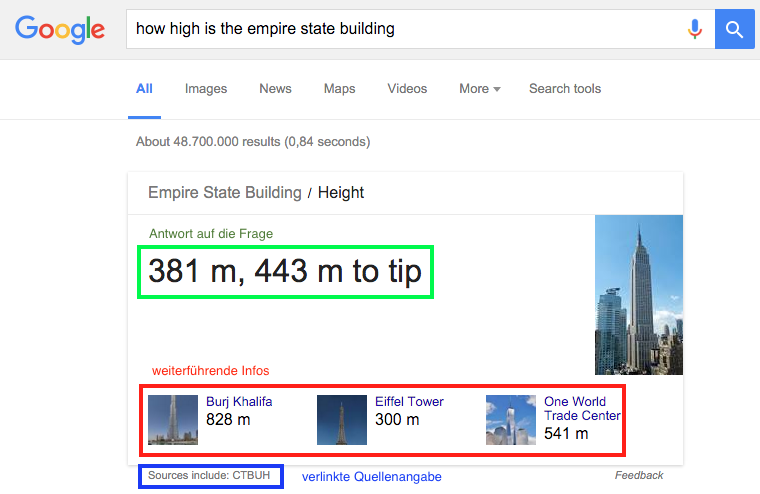 Google Rich Answer Empire State Building