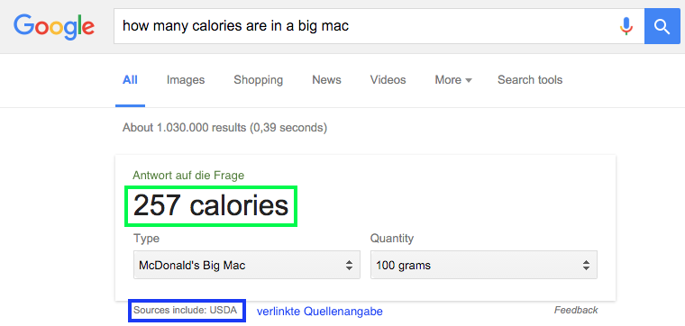 Google Rich Answer Kalorienangabe Bic Mac