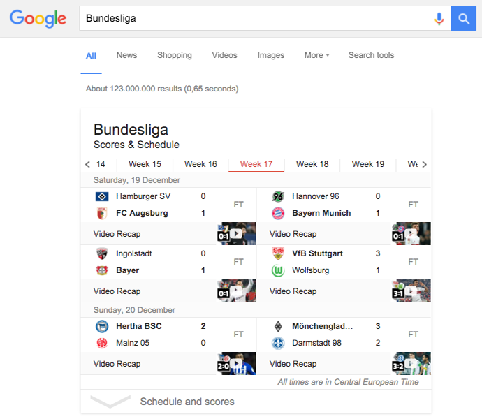 Google Rich Answer Bundesliga
